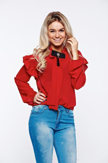 Piros PrettyGirl elegáns bő szabás női ing lenge, áttetsző anyag