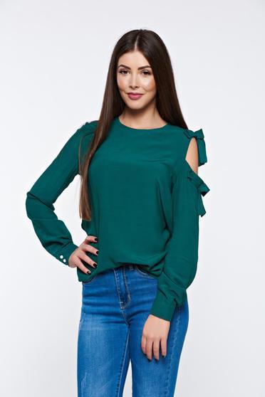 Zöld PrettyGirl női blúz elegáns bő szabású lenge anyagból