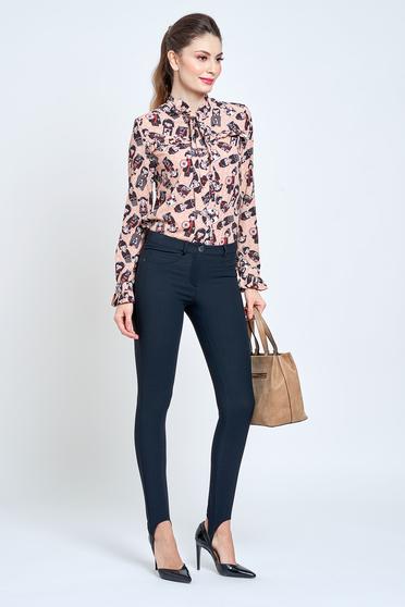 Fekete PrettyGirl casual rugalmas pamut nadrág zsebes