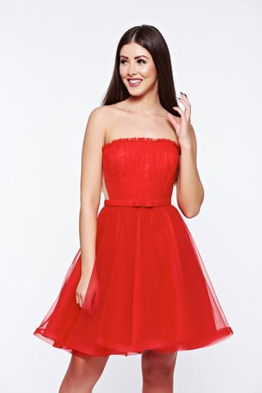 Piros Ana Radu ruha fűzős tüll belső béléssel