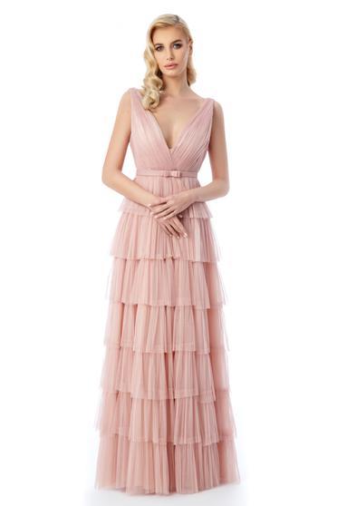 Rózsaszínű Ana Radu ruha belső béléssel tüll mély dekoltázs fodros