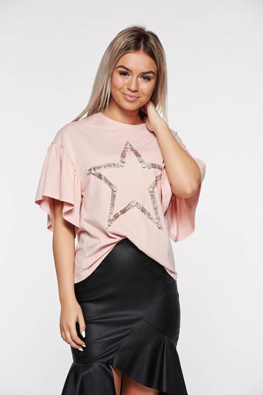 Rózsaszínű bő szabású rugalmas pamut hétköznapi póló gyöngy díszítéssel