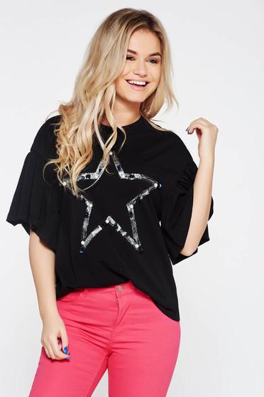 Fekete bő szabású rugalmas pamut hétköznapi póló gyöngy díszítéssel
