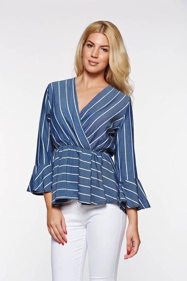 Kék hétköznapi női ing derékban rugalmas vékony anyag