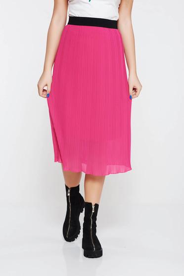 Pink casual rakott szoknya derékban rugalmas belső béléssel