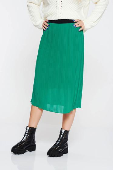 Zöld casual rakott szoknya derékban rugalmas belső béléssel