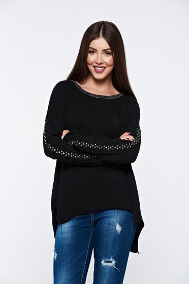 Fekete casual női blúz fémes szegecsekkel rugalmas pamutból