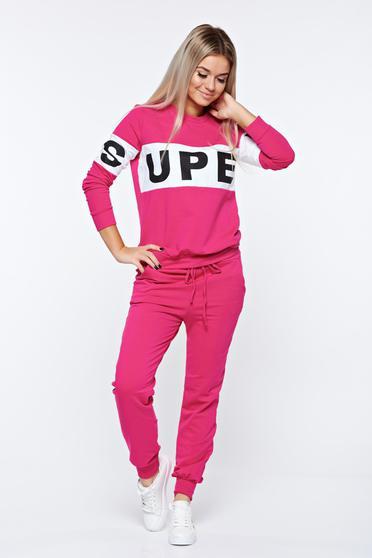 Pink szett sportos zsebes pamutból készült derékban rugalmas
