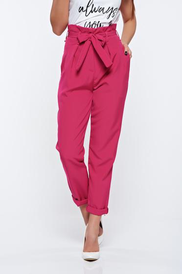 Pink nadrág magas derekú casual enyhén rugalmas anyag zsebes