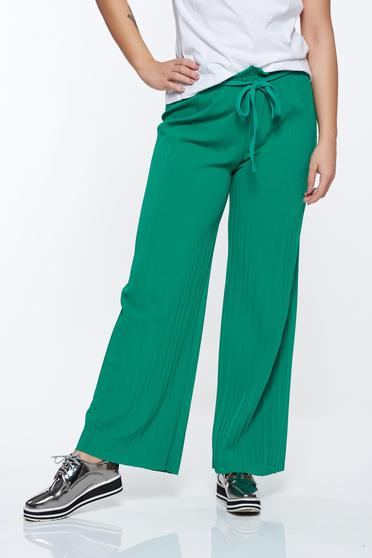 Zöld nadrág rakott lenge anyagból derékban rugalmas magas derekú