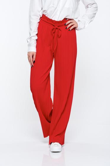 Piros nadrág lenge anyagból derékban rugalmas rakott magas derekú