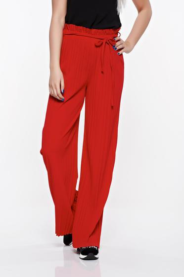 Piros nadrág rakott lenge anyagból derékban rugalmas magas derekú