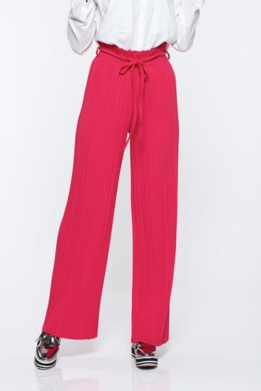 Pink nadrág lenge anyagból derékban rugalmas rakott magas derekú