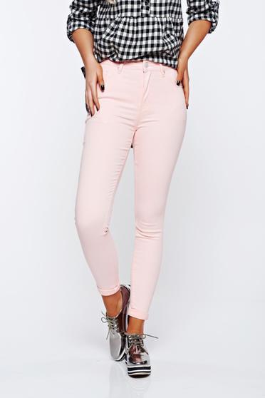 Világos rózsaszín casual magas derekú skinny farmer pamutból készült