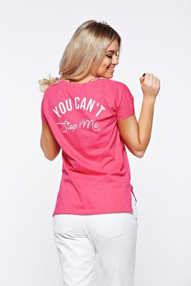 Pink Top Secret casual bő szabás pamutból készült póló nyomtatott mintával