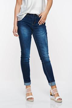 Kék Top Secret nadrág casual pamutból készült magas derekú elől és hátul zsebek