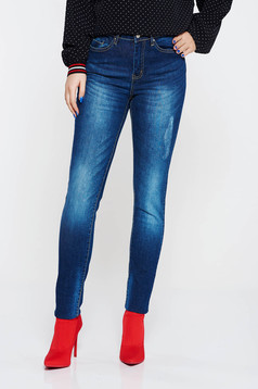Kék Top Secret casual pamutból készült nadrág magas derekú elől és hátul zsebek
