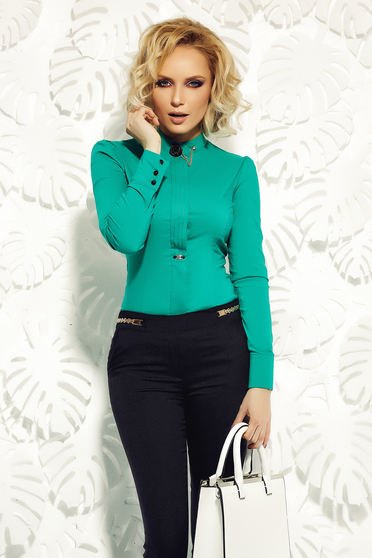 Zöld Fofy irodai női ing rugalmas pamut bross kiegészítővel