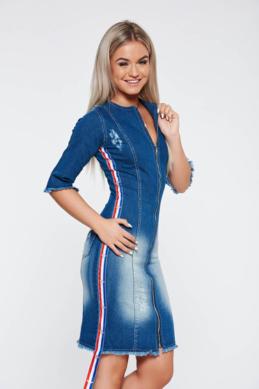 Kék Ocassion szűk szabású casual ruha szakadt farmerarnyagból