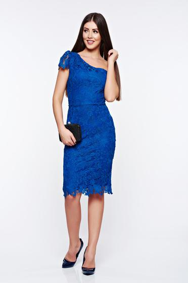 Kék alkalmi ceruza ruha csipkés anyag belső béléssel
