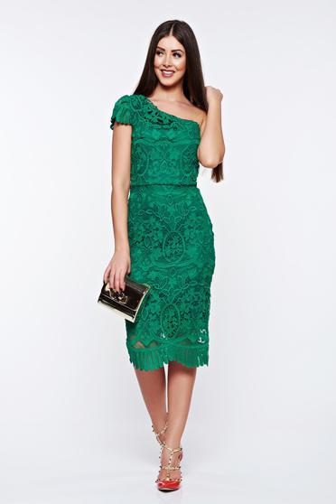 Zöld alkalmi ceruza ruha csipkés anyag belső béléssel