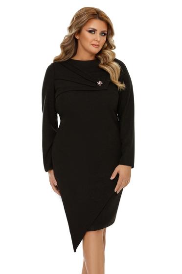 Fekete elegáns szűk szabás aszimetrikus ruha enyhén rugalmas anyag