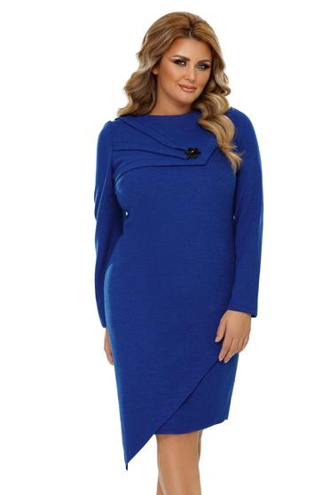 Kék elegáns szűk szabású aszimetrikus ruha enyhén rugalmas anyag