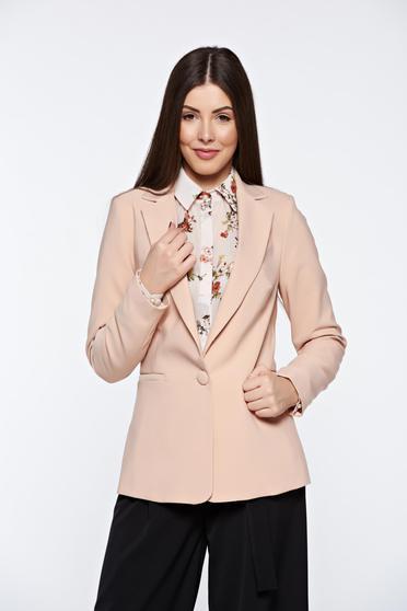 Rózsaszínű Artista irodai blézer belső béléssel kiegészítőkkel ellátott zsebek rugalmatlan szövet
