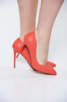 Piros stiletto irodai magassarkú műbőr cipő