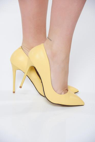 Sárga stiletto irodai magassarkú műbőr cipő