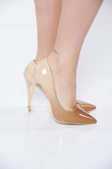 Krém cipő elegáns műbőr magassarkú