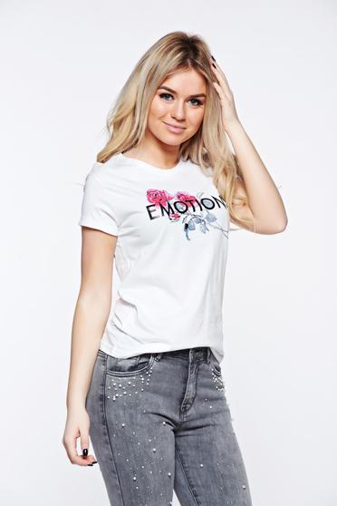 Fehér Top Secret casual bő szabású póló nyomtatott mintával enyhén elasztikus pamut