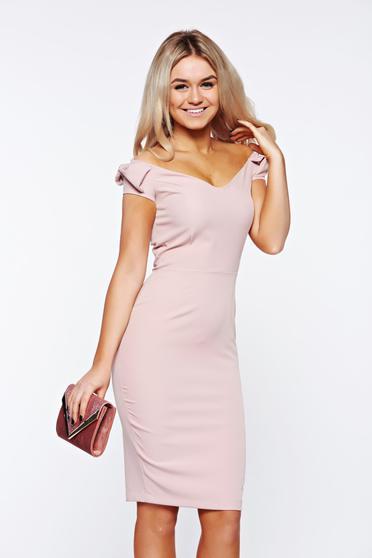Rózsaszínű StarShinerS elegáns ceruza ruha enyhén rugalmas anyagból