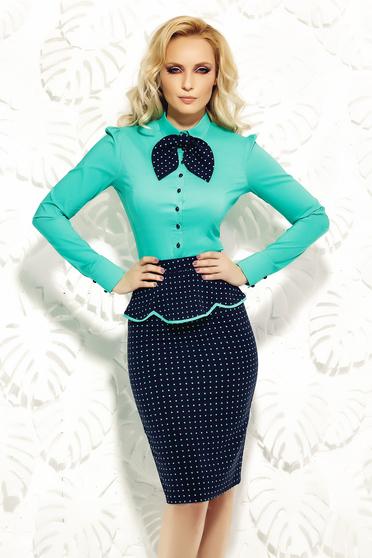 Zöld Fofy női ing irodai rugalmas pamut karcsusított szabás
