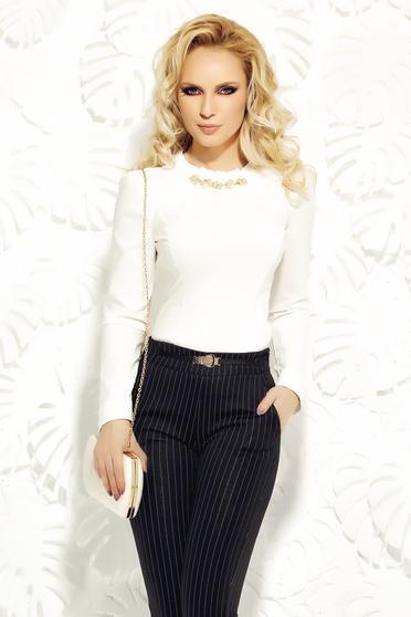 Fehér Fofy karcsusított szabás irodai női ing pamutból készült strassz köves kiegészítő