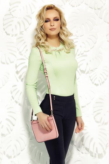 Világos zöld Fofy karcsusított szabás irodai női ing pamutból készült strassz köves kiegészítő