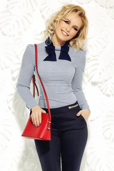 Világoskék Fofy női ing irodai rugalmas pamut karcsusított szabás