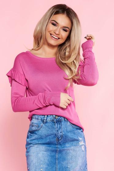 Pink Top Secret pulóver casual bő szabású kötött anyag fodrozott ujjakkal