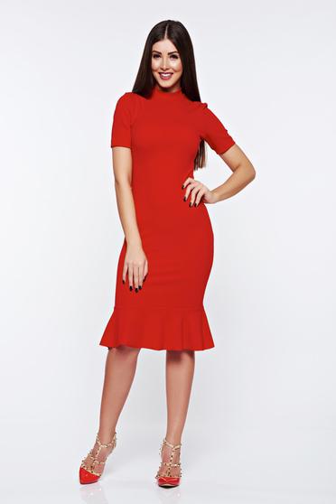 Piros StarShinerS elegáns szűk szabású ruha rugalmas anyagból