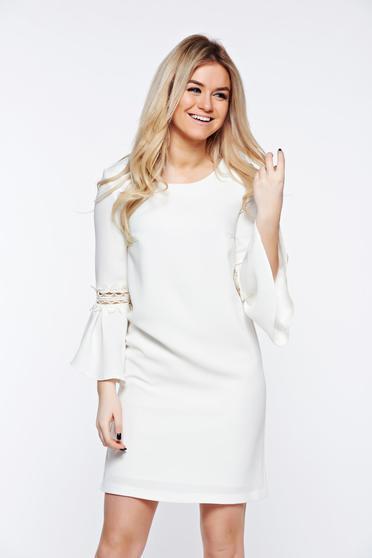 Fehér StarShinerS ruha elegáns rugalmatlan szövet belső béléssel bő szabású