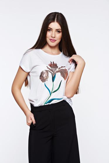 Fehér Top Secret casual bő szabású flitteres díszítés póló rugalmas pamut