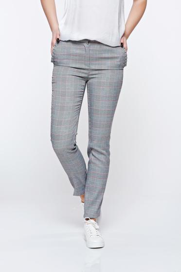 Szürke Top Secret irodai kónikus nadrág enyhén elasztikus szövet zsebes