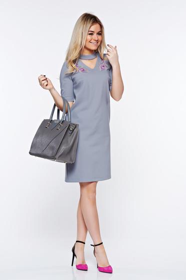 Szürke StarShinerS elegáns hímzett ruha enyhén rugalmas szövet egyenes szabás