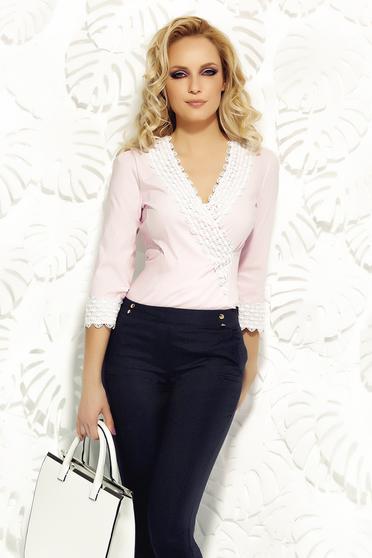 Rózsaszínű Fofy szűk szabás irodai női ing rugalmas pamutból