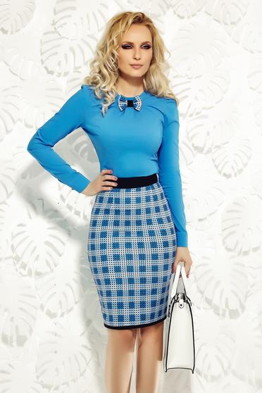 Kék Fofy szűk szabás irodai női ing rugalmas pamutból masni alakú kiegészítővel