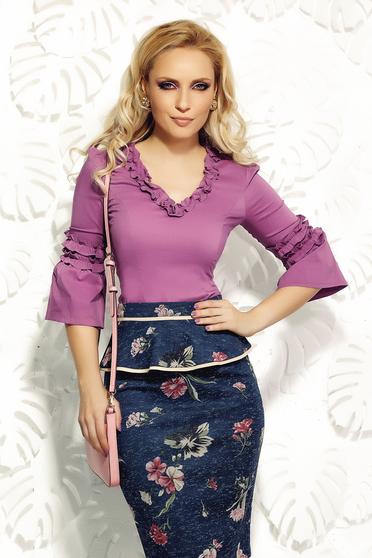 Lila Fofy szűk szabás fodros irodai női ing rugalmas pamut
