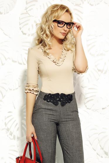 Krém Fofy szűk szabású fodros irodai női ing rugalmas pamutból