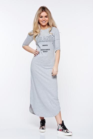 Szürke Top Secret casual pamutból készült bő szabás ruha nyomtatott mintával