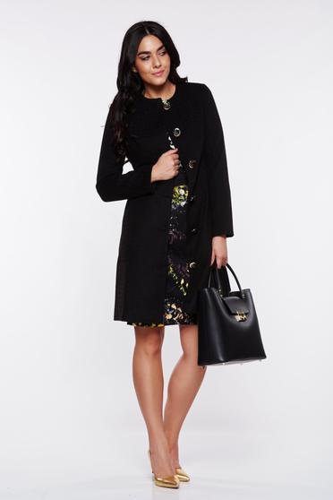 Fekete LaDonna elegáns zsebes ballonkabát belső béléssel