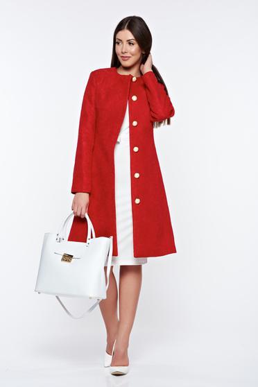 Piros LaDonna elegáns zsebes ballonkabát belső béléssel